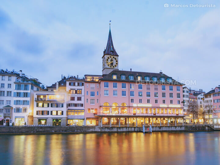 St. Peter Pfarrhaus (church) & Limmat Riverside in Zurich, Switz