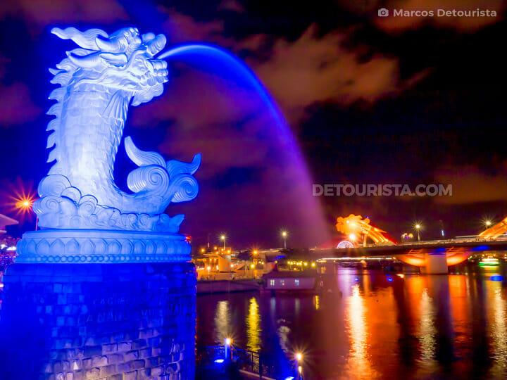 Carp-Dragon Statue and the Dragon Bridge, at night, in Da Nang, Vietnam