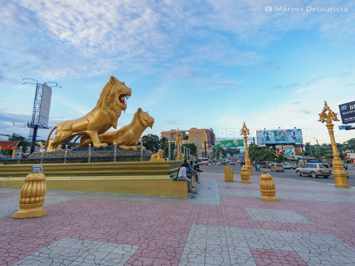 Golden Lions Roundabout in Sihanoukville, Cambodia