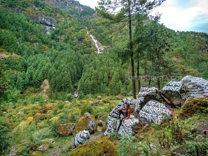 Mani stones & a waterfall near Monjo village