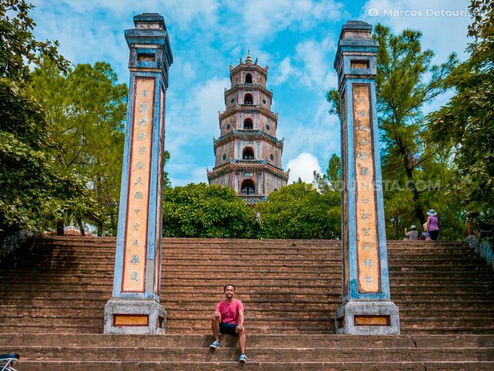 Thien Mu Pagoda, along the Perfume River, in Hue, Vietnam
