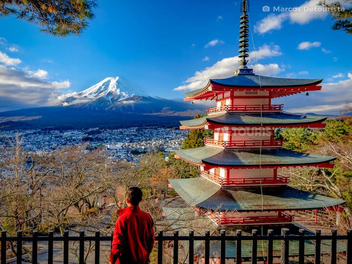 Mount Fuji view from Chureito Pagoda, near Lake Kawaguchi in Yam