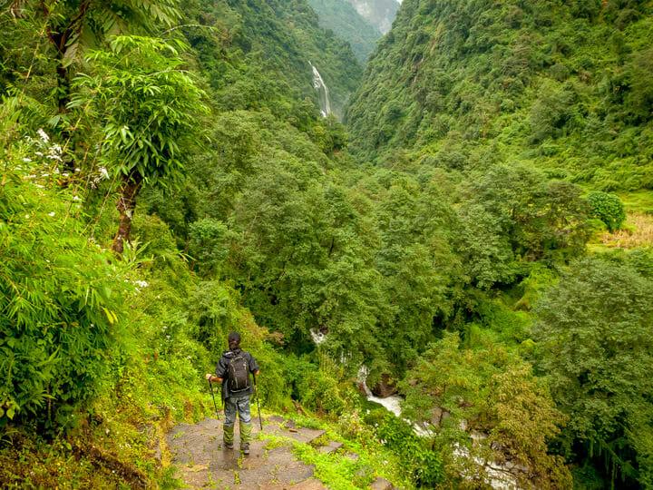 Annapurna Sanctuary trek jungle and waterfall view