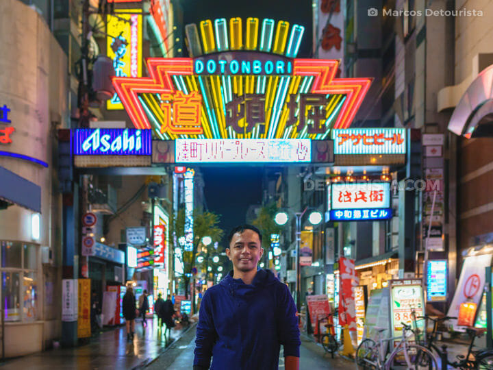 Marcos at Dotonburi shopping and food district in Osaka, Japan