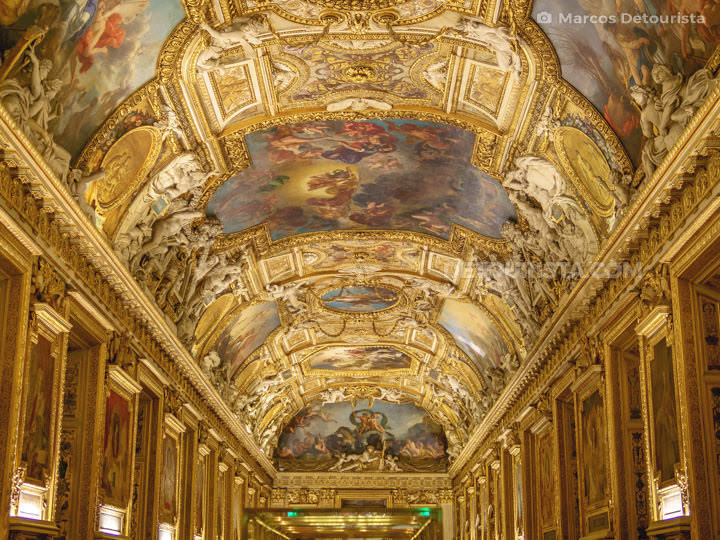 Louvre Museum ceiling paitings and sculptural details, in Paris,