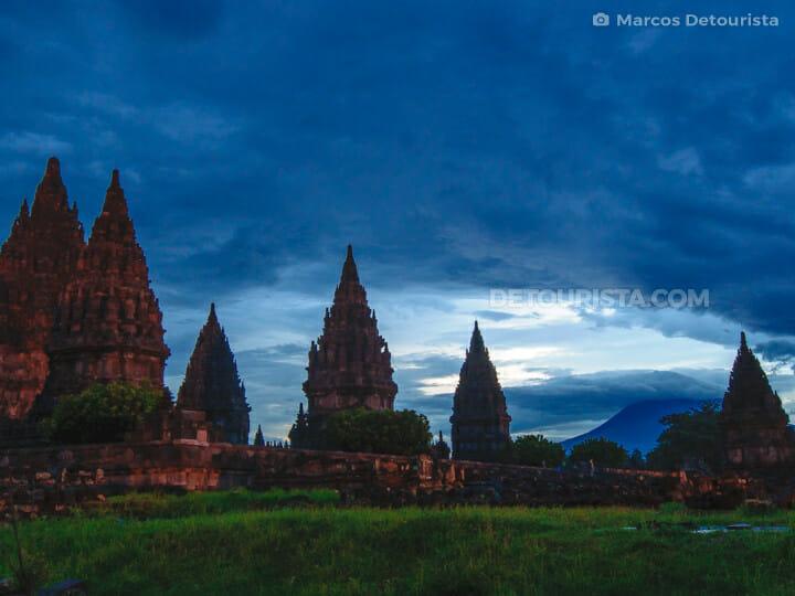 Dusk view of Prambanan Temple Complex & Merapi Volcano at dusk, in Yogyakarta, Java, Indonesia