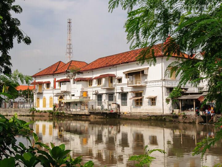 Dutch-colonial heritage building at Surabaya riverside, in East Java, Indonesia
