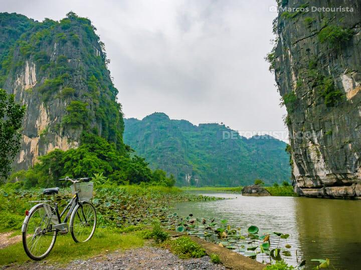 Bicycle along Tam Coc River in Ninh Binh, Vietnam