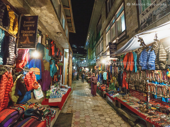 Namche Bazaar street markets at night