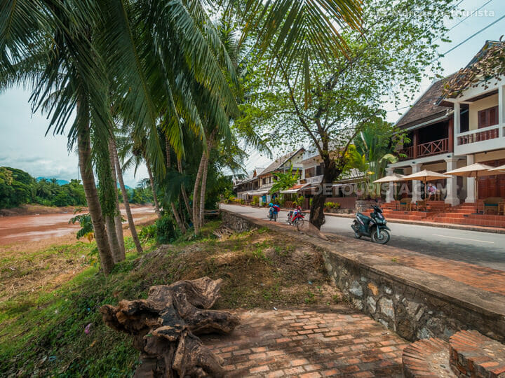 Riverside promenade at the French-colonial district in Luang Pra