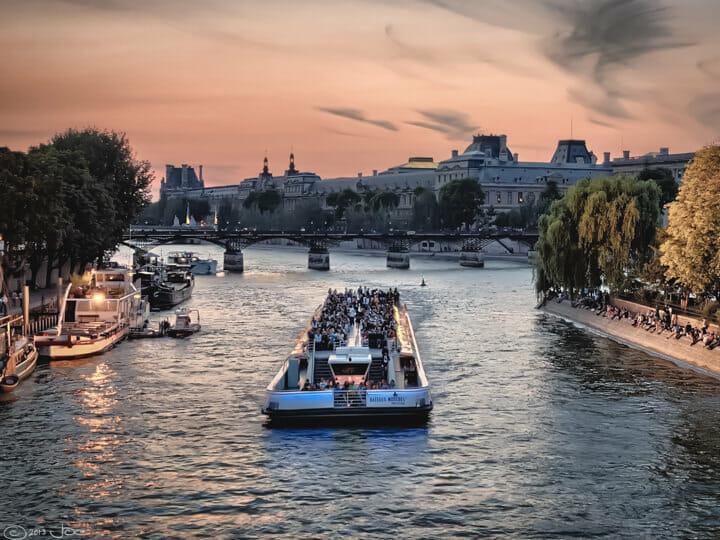 Seine River cruise, in Paris, France