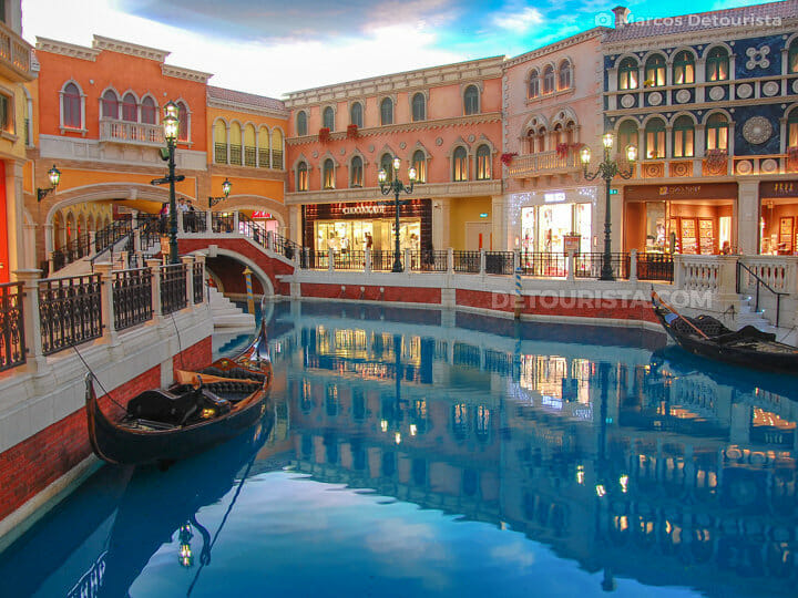 Canals and gondolas at The Venetian Macau