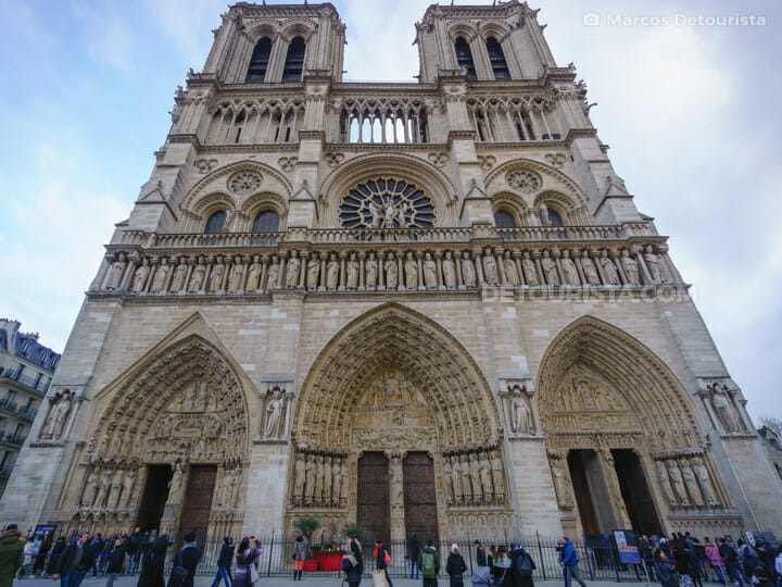 Notre Dame Cathedral facade, in Paris, France