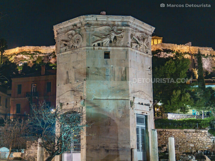 Tower of the Winds at the Roman Agora in Athens, Greece