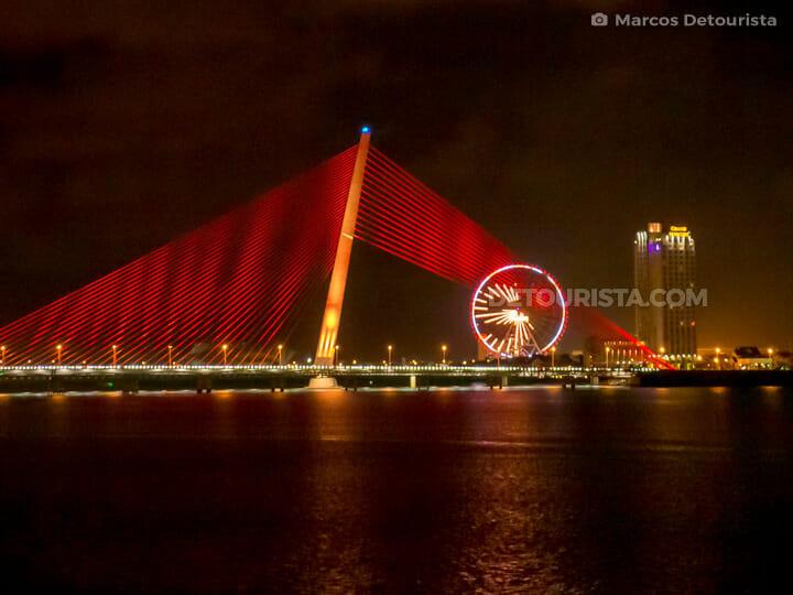 Tran Thi Ly Bridge and Sun Wheel, at night, in Da Nang, Vietnam