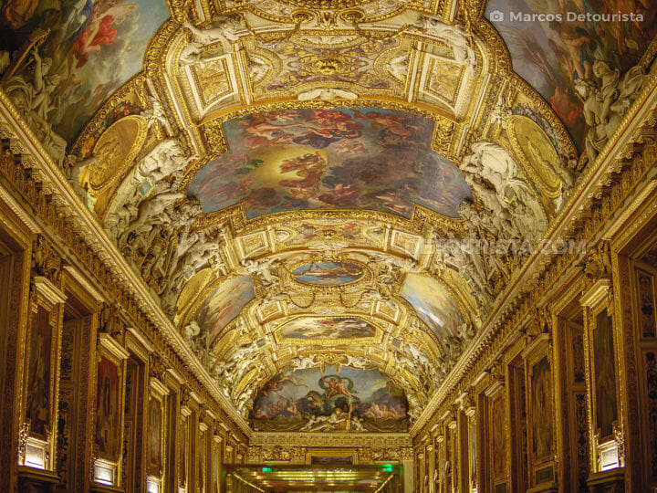 Louvre Museum ceiling paitings and sculptural details