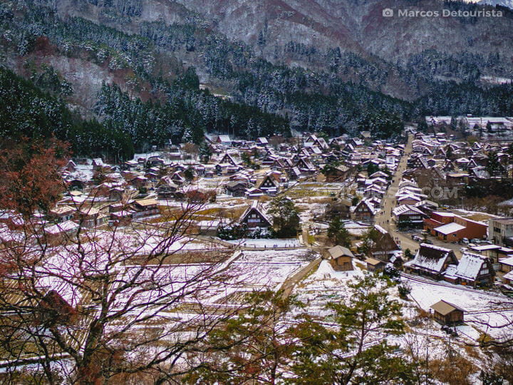 Shirakawa-go village view from Shiroyama viewpoint, Japan