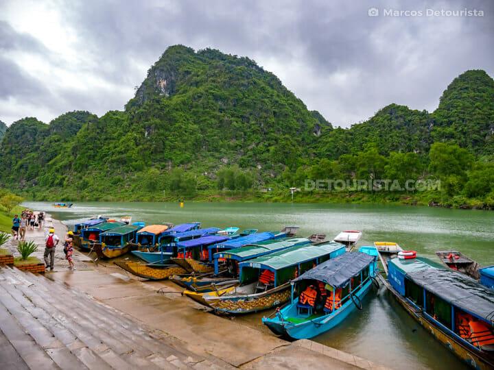 Tourist boats at Phong Nha Village Center