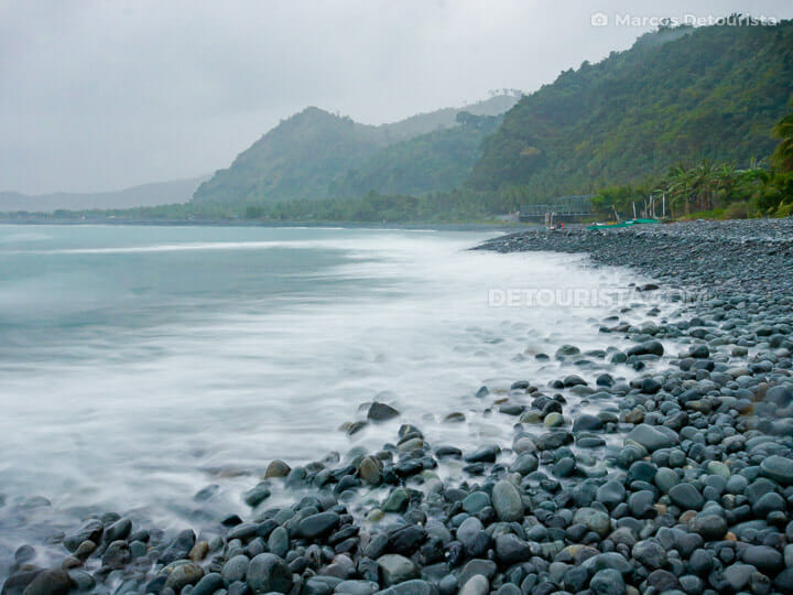 Pebbled Ampere Beach, at dusk, in Dipaculao, Aurora, Philippines