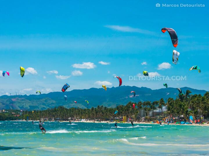 Kite surfing at Bulabog Beach, in Boracay Island, Malay, Aklan, Philippines