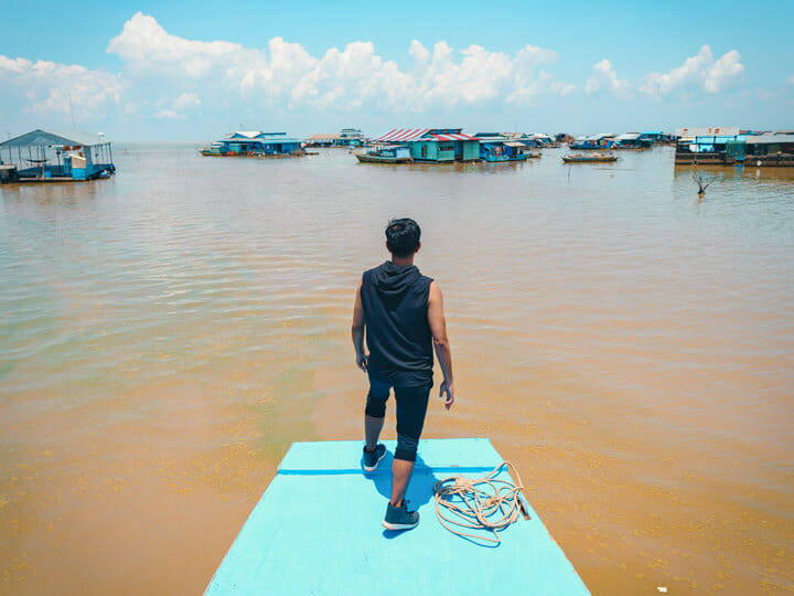 Chong Kneas Floating Village at Tonle Sap, in Siem Reap, Cambodi