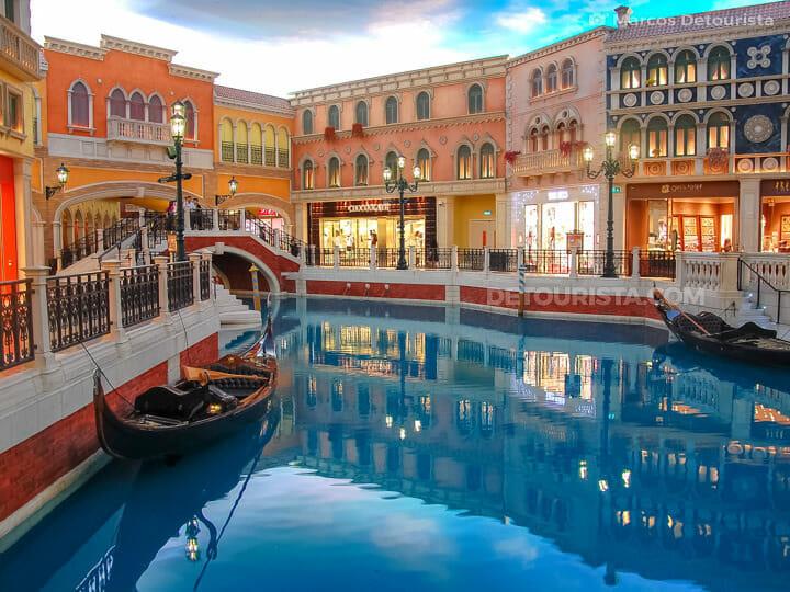 Indoor Italian-inspired canals and gondolas at The Venetian Maca