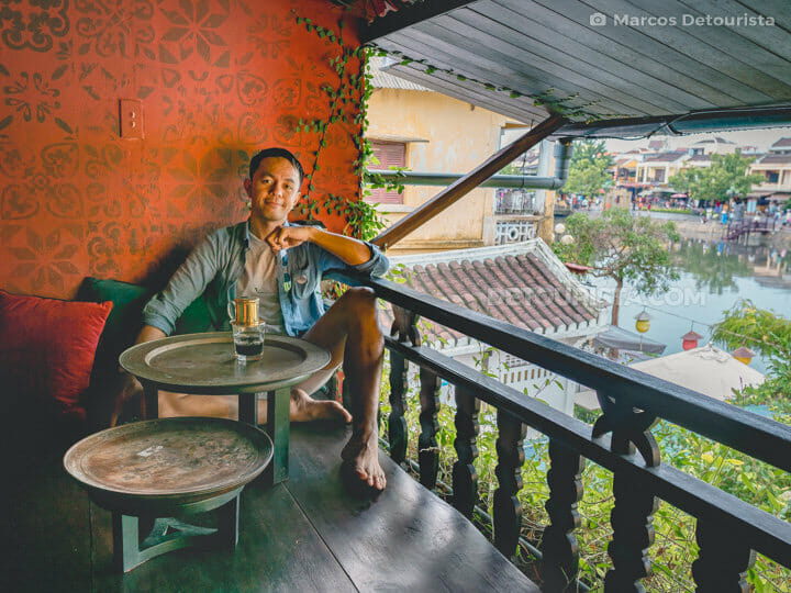 Marcos enjoying Vietnamese Phin Coffee, Hoi An