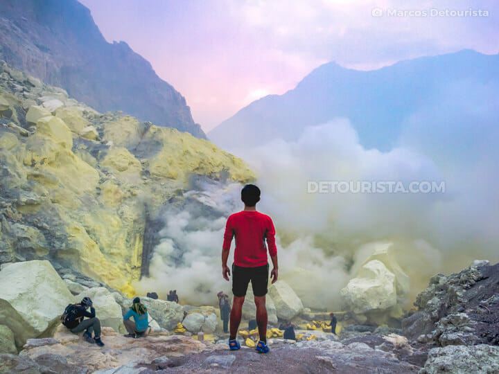Marcos at Mount Ijen (volcano) sulfur mine in Java, Indonesia