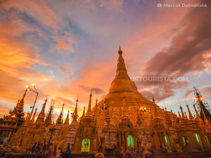 Sunset at Shwedagon Paya (Pagoda) in Yangon, Myanmar