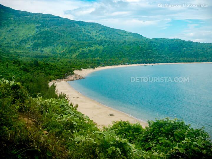 Hai Van Pass beach view aboard the Da Nang-Hue train in Vietnam