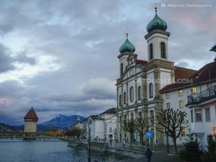 Jesuitenkirche (Jesuit Church) & Kapellbrücke (Chapel Bridge),