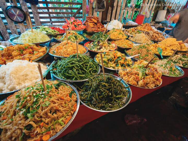 Veggie buffet food stall at Luang Prabang market, Laos
