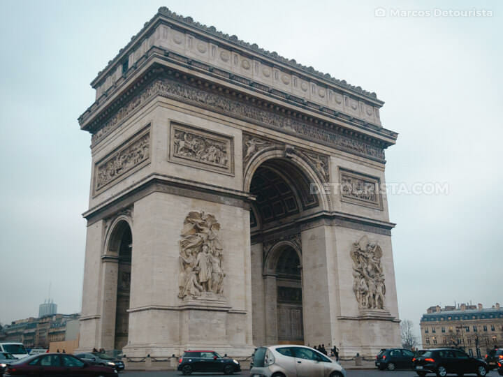 Arc de Triomphe, in Paris, France
