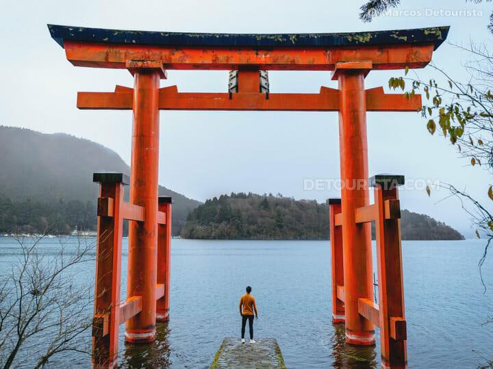 Hakone Shrine at Lake Ashinoko, in Hakone, Japan