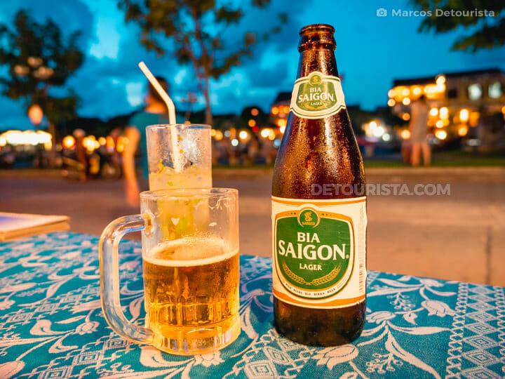 Saigon Beer at Hoi An Riverside at Night