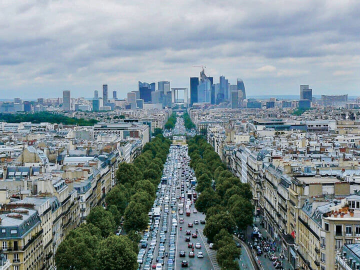 Paris Skyline and La Defense view from Arc de Triomphe, in Paris