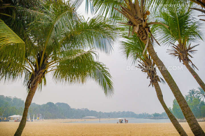 Tanjong Beach - hazy morning, in Sentosa Island, Singapore