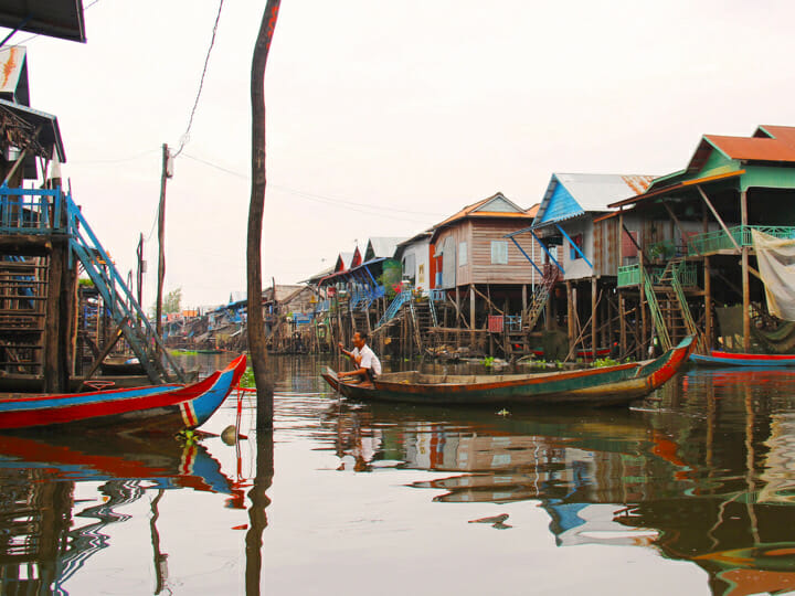 Kampong Phluk floating village in Tonle Sap, Cambodia