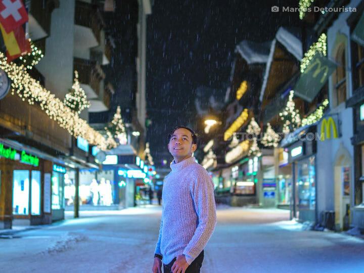 Marcos at Bahnhofstrasse (main street) in Zermatt, Switzerland