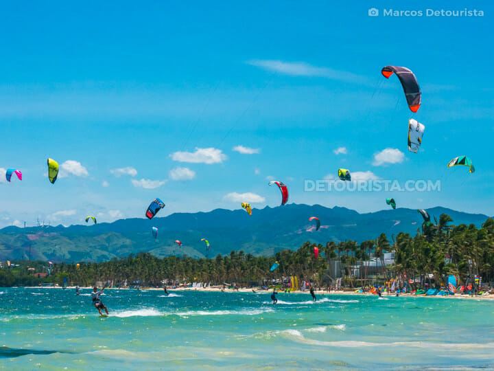 Kite surfing at Bulabog Beach, in Boracay Island, Malay, Aklan, Philippines