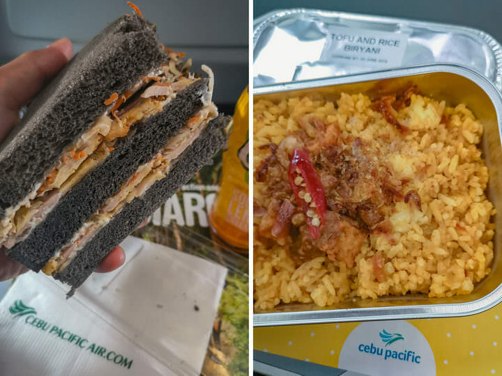 017 Cebu Pacific Fun Cafe - Japanese Chicken Mayo Sandwich (left). Tofu & Rice Biryani (right)