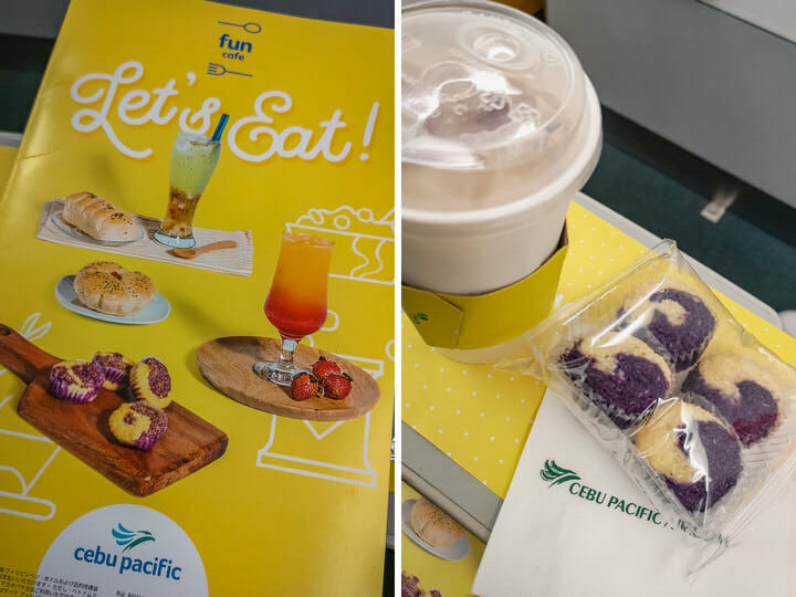 017 Cebu Pacific Fun Cafe - Ube Coconut Macaroon and Iced Milk Tea