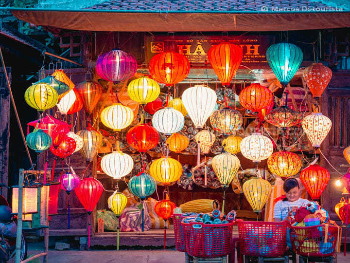 Colorful and Brightly Lit Paper Lanterns in Hoi An