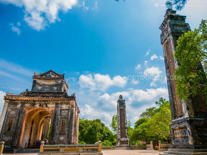 Lang Tu Duc (tomb) in Hue, Vietnam tall pillars and the stele pavilion, in Hue, Vietnam