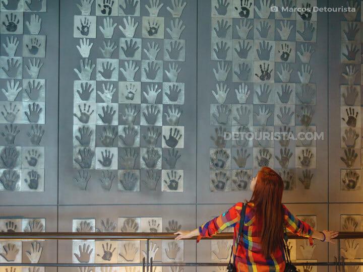 Wall of Hand Prints at Royal Selangor Visitor Centre in Kuala Lumpur, Malaysia