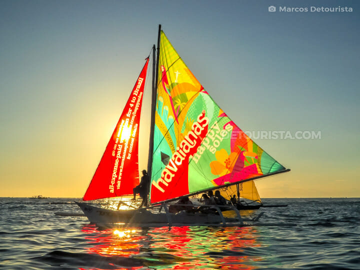Paraw Sailing during sunset,. in Boracay Island, Malay, Aklan, Philippines