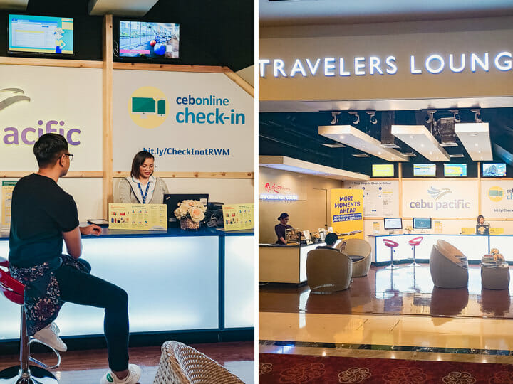 018 Cebu Pacific flight check-in at the Travelers Lounge in 1F Resortsworld Manila, Philippines