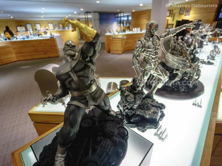 Marvel heroes collectibles at Royal Selangor Visitor Centre in Kuala Lumpur, Malaysia