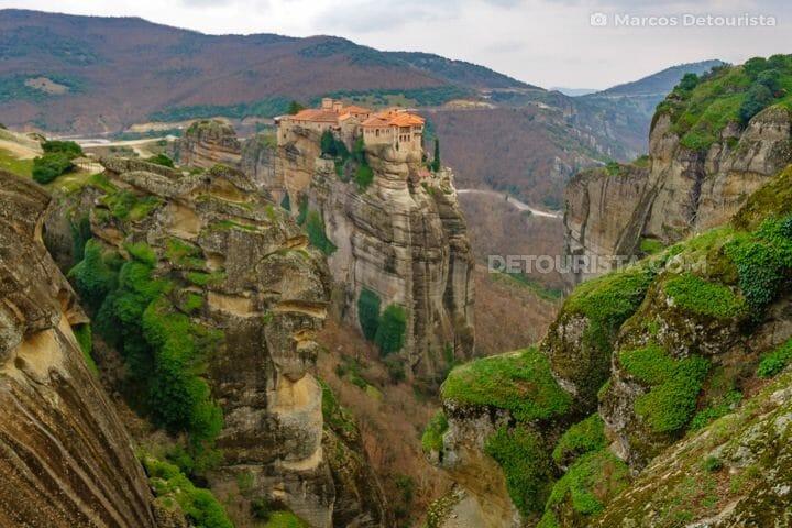 Varlaam Monastery viewed from Great Meteoron Monastery in Meteora, Greece