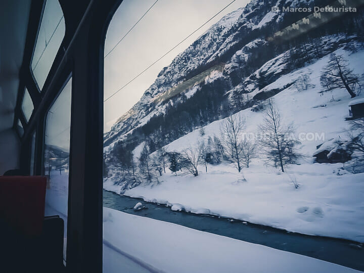 Alpine views on the Zermatt-Visp Glacial Express train, in Switz